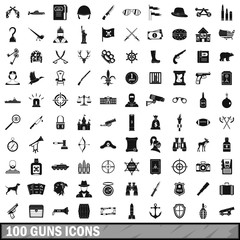 100 guns icons set, simple style