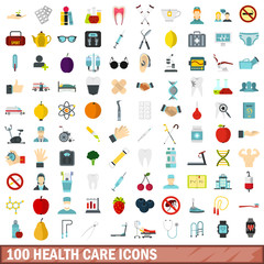 100 health care icons set, flat style
