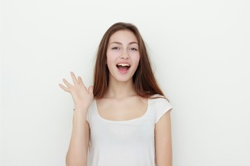 portrait of attractive caucasian smiling young woman