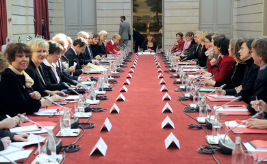 France's President Sarkozy receive women associations at the Elysee Palace in Paris