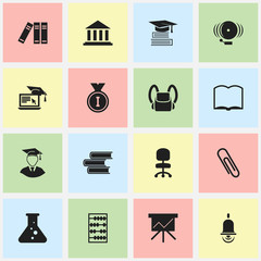 Set Of 16 Editable School Icons. Includes Symbols Such As Staple, First Place, Library And More. Can Be Used For Web, Mobile, UI And Infographic Design.