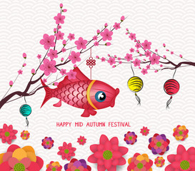 Happy mid autumn festival blooming flower and carp lantern design