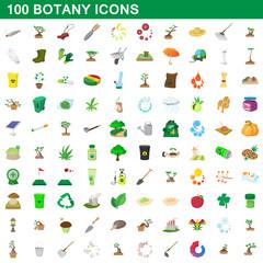 100 botany icons set, cartoon style