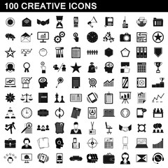 100 creative icons set, simple style