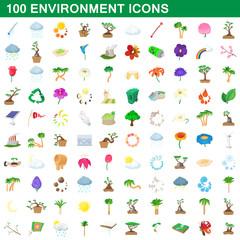 100 environment icons set, cartoon style