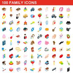 100 family icons set, isometric 3d style