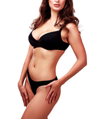 Sexy lady in black underwear bikini, isolated on white background