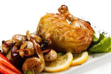 Roast chicken leg with mushrooms
