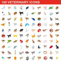 100 veterinary icons set, isometric 3d style