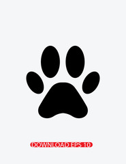 Animal paw print silhoutte icon, Vector