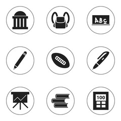 Set Of 9 Editable School Icons. Includes Symbols Such As Chart Board, Calculator, School Board And More. Can Be Used For Web, Mobile, UI And Infographic Design.