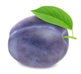 Ripe plum with green leaf. With clipping path
