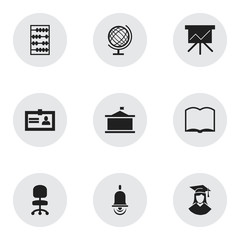 Set Of 9 Editable Graduation Icons. Includes Symbols Such As Arithmetic, Alarm Bell, Chart Board And More. Can Be Used For Web, Mobile, UI And Infographic Design.