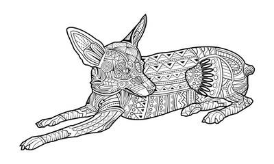 Cute coloring page dog of breed Chihuahua