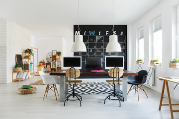 White interior with office desk