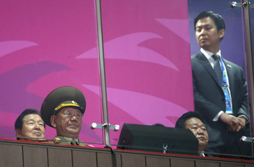 North Korea's Hwang Pyong So attends the closing ceremony of the 17th Asian Games at the Incheon Asiad Main Stadium