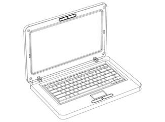 Laptop Blueprint– 3D perspective