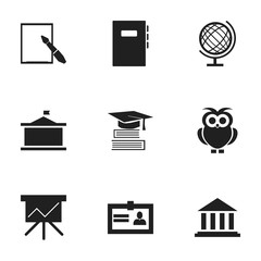 Set Of 9 Editable University Icons. Includes Symbols Such As Museum, Certification, Workbook And More. Can Be Used For Web, Mobile, UI And Infographic Design.