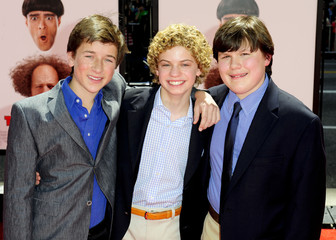 "(L-R) Actors Skyler Gisondo, Lance Chantiles-Wertz and Robert Capron, who play the young Stooges arrive at the Hollywood premiere of ""The Three Stooges: The Movie"" in Los Angeles, California"