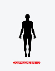Standing human body silhouette icon, Vector