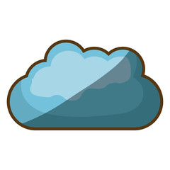 colorful thick contour of blue cloud with half shadow vector illustration