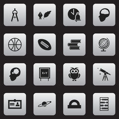 Set Of 16 Editable Education Icons. Includes Symbols Such As Oval Ball, Binoculars, School Bell And More. Can Be Used For Web, Mobile, UI And Infographic Design.