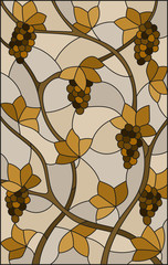 The illustration in stained glass style painting with a bunches of  grapes and leaves ,brown tone, sepia