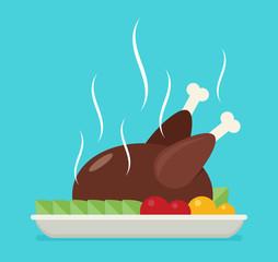 Flat vector baked chicken, turkey.