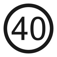 Maximum speed limit 40 line icon