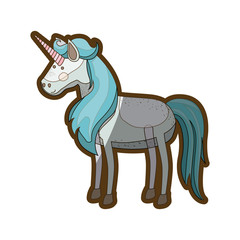 white background with realistic unicorn and thick contour vector illustration