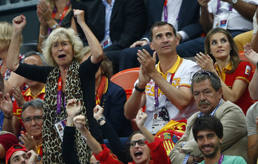 Spain's Crown Prince Felipe and his wife Crown Princess Letizia react during the women's bronze medal match between Spain and South Korea at the Basketball Arena during the London 2012 Olympic Games