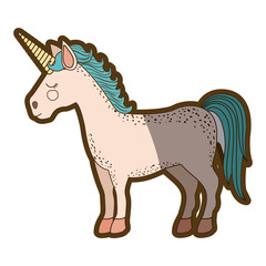 white background with cartoon unicorn standing with closed eyes and thick contour vector illustration