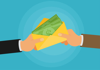 bribe flat vector