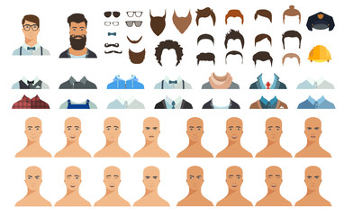 Avatar constructor. Choose haircut, clothes and emotion. Vector illustration in flat style.