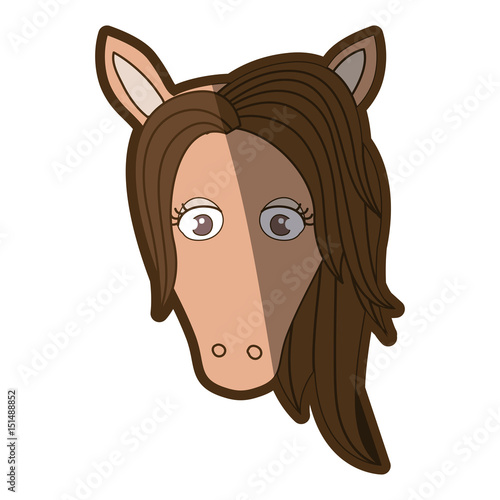 brown clear silhouette of front face of female horse with mane