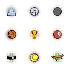 Sports accessories icons set, pop-art style