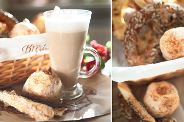 Fresh, crispy buns and croissants in a wicker basket and frothy cappuccino
