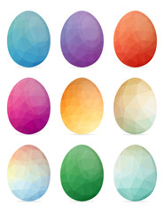 Set of Easter eggs with different texture on a white background