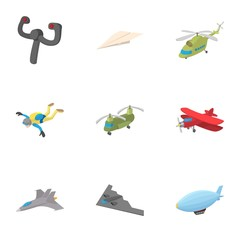 Flying machine icons set, cartoon style