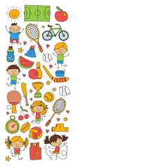 Children sport Fitness Football Volleyball Tennis Basketball Bicycle Running Award Baseball Kids sport for boys and girls Vector pattern