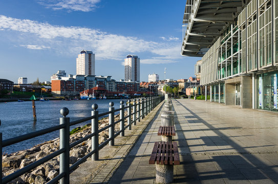 North bank of the River Wear in Sunderland, looking toward the town centre