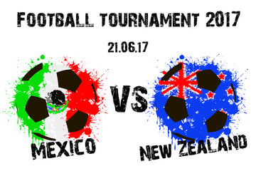 Banner football match Mexico vs New Zealand