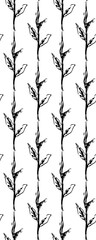 Hand drawn graphic floral seamless pattern