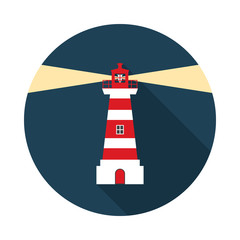 Lighthouse circle icon with long shadow. Flat design style.