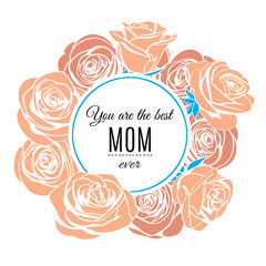 Happy Mother's day greeting card template. Vector illustration