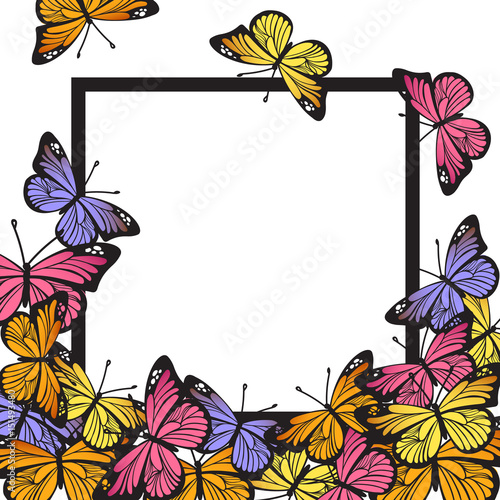 Greeting card with hand drawn butterflies and black simple frame on ...