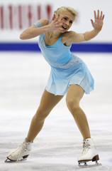 Makarova of Russia performs during the women's short program at the ISU World Figure Skating Championships in Nice
