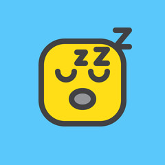 Exhausted, Tired Face emoji  Filled outline icon, colorful