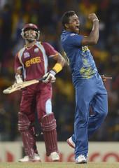 Sri Lanka's Mendis celebrates after dismissal of West Indies' Bravo during the world Twenty20 final at R Premadasa Stadium, Colombo