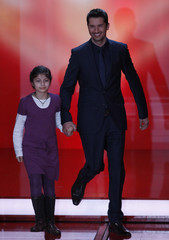 TV presenter Goedde appears on stage during A Heart for Children TV charity telethon in Berlin